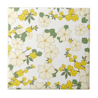 yellow flower pattern small square tile
