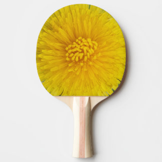 Yellow Flower Ping Pong Paddle, Red Rubber Back