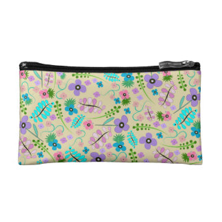 Yellow Flower Print Cosmetic Bag