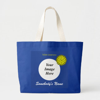 Yellow Flower Ribbon Template Large Tote Bag