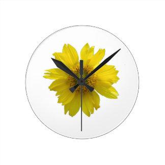 Yellow Flower Round Clock