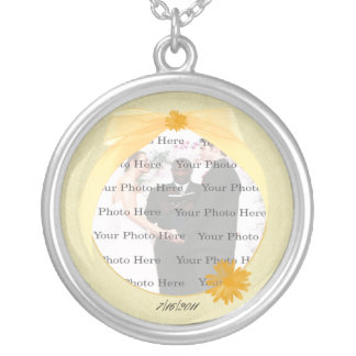 Yellow Flower Round Silver Photo Necklace