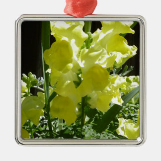 Yellow Flower Silver-Colored Square Decoration
