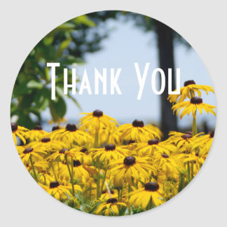 Yellow Flower Thank You Classic Round Sticker