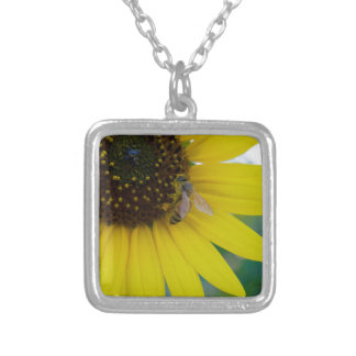 Yellow Flower with Bee Square Pendant Necklace