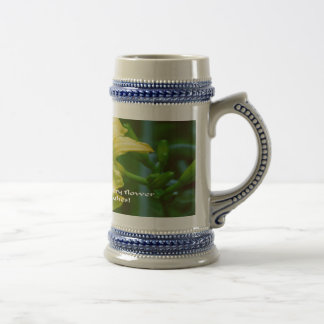 Yellow flower with inspirational quote beer steins