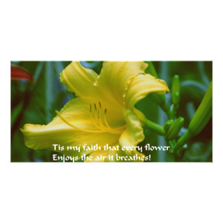 Yellow flower with inspirational quote photo card