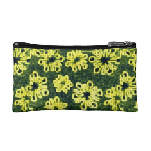 Yellow Flowers Against Black Makeup Bags