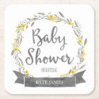 Yellow Flowers and Grey Leaves Wreath Baby Shower Square Paper Coaster