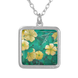Yellow Flowers at Nature Silver Plated Necklace