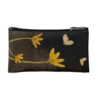 Yellow flowers makeup bags