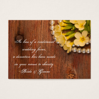 Yellow Flowers Barn Wood Wedding Charity Favor