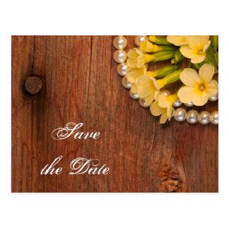 Yellow Flowers Barn Wood Wedding Save the Date Postcard
