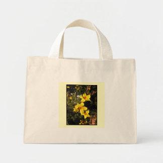 Yellow Flowers. Bidens. On Cream. Canvas Bags