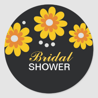 Yellow Flowers Bridal Shower Favors Seals Round Stickers