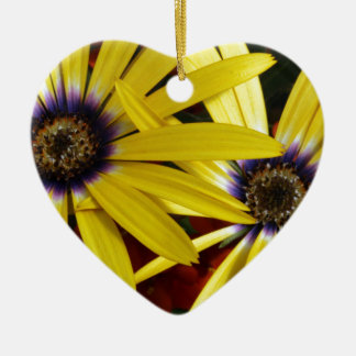 Yellow Flowers Ceramic Heart Decoration