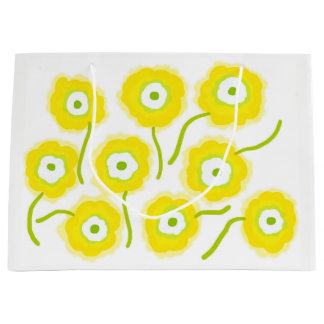 Yellow flowers gift bag by Gemma Orte Designs.