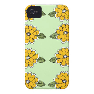 Yellow Flowers Green Case-Mate iPhone 4 Case