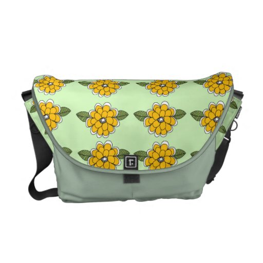 Yellow Flowers Green Courier Bag