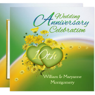 Yellow Flowers Hearts 10th Anniversary Party Card