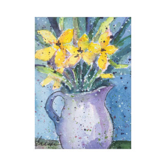 Yellow Flowers in Blue Vase watercolor Canvas Print
