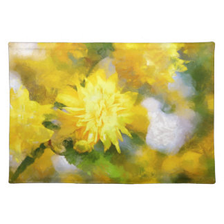 Yellow flowers in city garden in spring calm day placemat