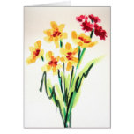 Yellow Flowers In Watercolors Thank You Card