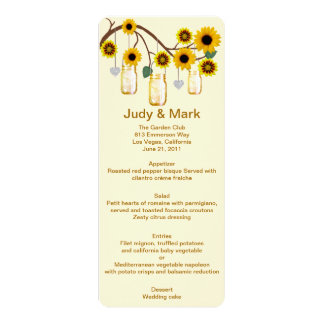 Yellow Flowers Mason Jars Menu Card Custom Announcement