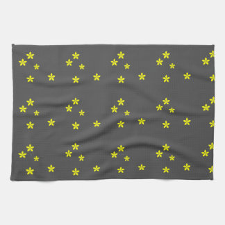 Yellow flowers on gray background tea towel
