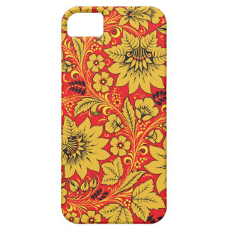 Yellow flowers on red khokhloma iphone 5/5S case