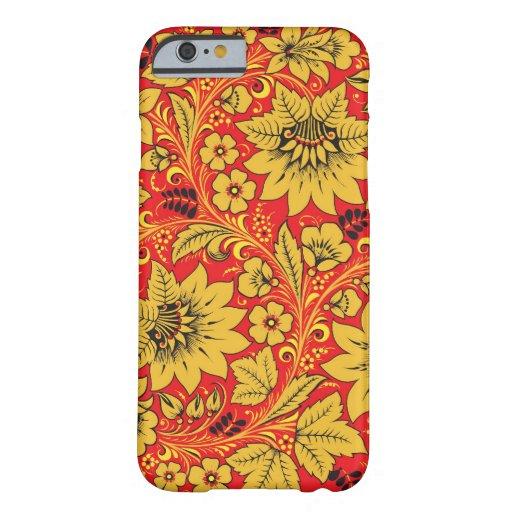 Yellow flowers on red khokhloma iPhone 6 case