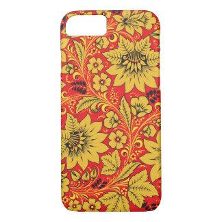 Yellow flowers on red khokhloma iPhone 7 case