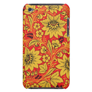 Yellow flowers on red khokhloma ipod case