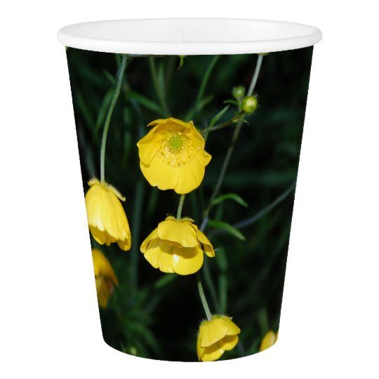 Yellow Flowers Paper Cup