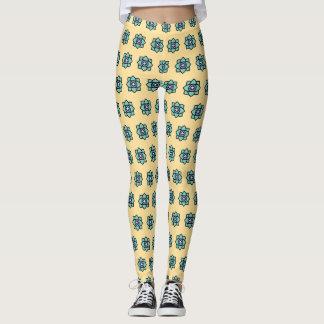yellow flowers pattern leggings