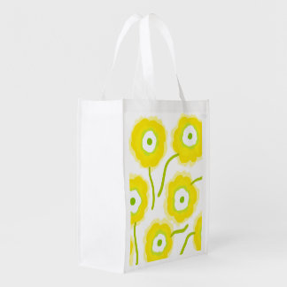 Yellow flowers Reusable Bag by Gemma Orte