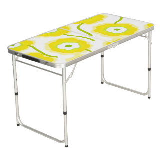 Yellow flowers Tailgate Size Beer Pong Table