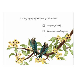 Yellow Flowers Teal Vintage Birds Response Card
