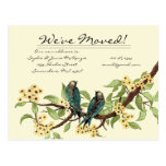 Yellow Flowers Teal Vintage Birds We Have Moved! Post Card