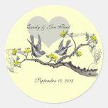 Yellow Flowers Vintage Love Birds Wedding Stickers