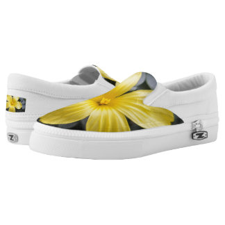 Yellow Flwr Custom Zipz Slip On Shoes,Men & Women Printed Shoes