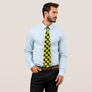 Yellow Flying Finger Smiley on Black Satin Tie