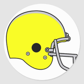 yellow football helmet classic round sticker