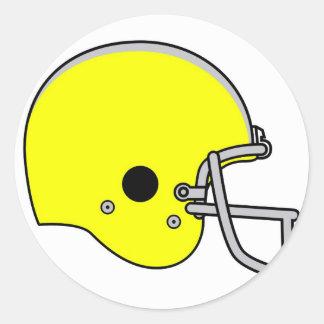 yellow football helmet round sticker