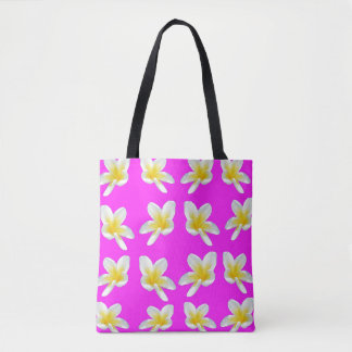 Yellow Frangipani Flower On Pink Background, Tote Bag