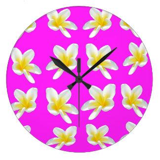 Yellow Frangipani Flowers On Pink Backgrrond, Large Clock