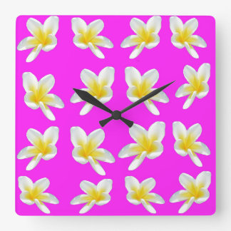 Yellow Frangipani Flowers On Pink Backgrrond, Square Wall Clock