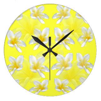 Yellow Frangipani Sensation Large Round Wall Clock