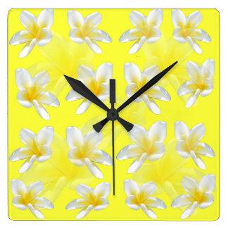 Yellow Frangipani Sensation, Square Wall Clock. Square Wall Clock