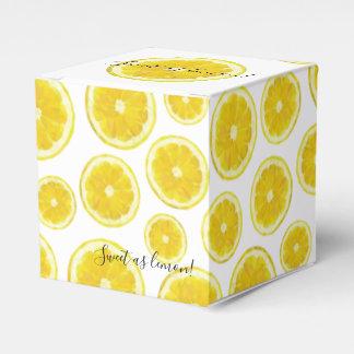 Yellow fresh lemon slice gift favor box